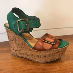 Mossimo | Target Two Tone Buckle Cork Wedges